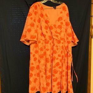 Silky Orange Floral Faux Wrap Dress with Side Tie